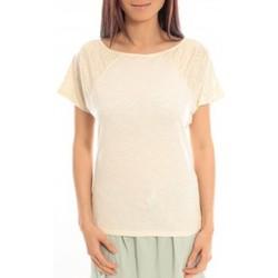 Abbigliamento Donna T-shirt maniche corte Blune T-Shirt Pointilleuse PO-TF02E13 Écru Beige
