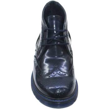 Scarpe Uomo Stivaletti Made In Italia polacchino abrasivato blu art 0123martens fondo trasparente BLU