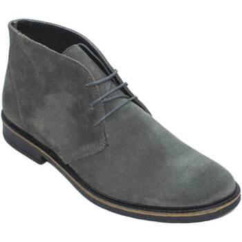 Scarpe Uomo Stivaletti Made In Italia Polacchino scarpe uomo casual light camoscio grigio vera pelle GRIGIO