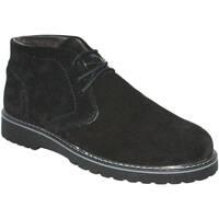 Scarpe Uomo Stivaletti Made In Italia Polacchino scarpe uomo man vera pelle nero scamosciato fondo ro NERO