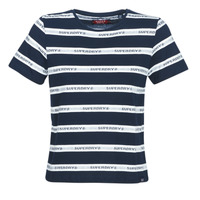 Abbigliamento Donna T-shirt maniche corte Superdry COTE STRIPE TEXT TEE Marine