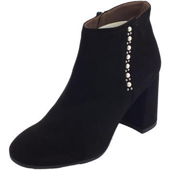 Scarpe Donna Stivaletti Nero Giardini i accollati stringati  donna pelle nera tacco alto Nero