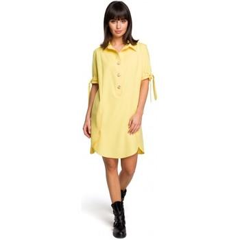 Abbigliamento Donna Abiti corti Be B112 Tunica con colletto e maniche legate - giallo