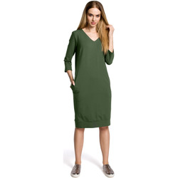 Abbigliamento Donna Vestiti Moe M423 Abito blouson con spacco sulla schiena - cipria