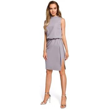 Abbigliamento Donna Vestiti Moe M423 Abito blouson con spacco sul retro - grigio