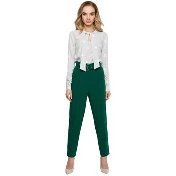 Abbigliamento Donna Vestiti Style S124 Pantaloni a vita alta con cintura - verde