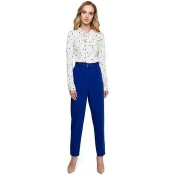 Abbigliamento Donna Vestiti Style S124 Pantaloni a vita alta con cintura - blu reale
