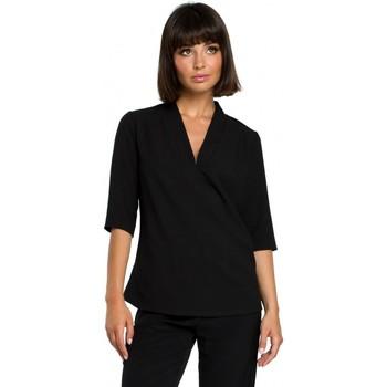 Abbigliamento Donna Top / Blusa Be B090 Top a tinta unita con scollo a V e lino - nero