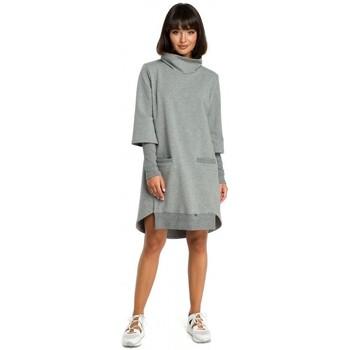 Abbigliamento Donna Vestiti Be B089 Abito asimmetrico a collo alto - grigio