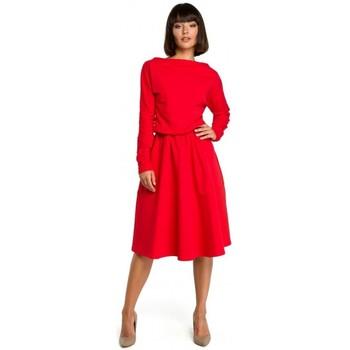 Abbigliamento Donna Abiti corti Be B087 Vestito aderente e flare midi - rosso