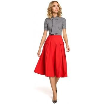 Abbigliamento Donna Camicie Moe M321 Gonna midi svasata con tasche - rosso