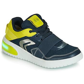 Scarpe Bambino Sneakers basse Geox J XLED BOY Blu / Giallo