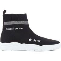 Scarpe Donna Sneakers alte Chiara Ferragni Sneakers calza  in tessuto tecnico nero