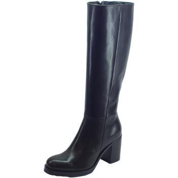 Scarpe Donna Stivali Pregunta Stivali Pegunta in pelle nera tacco alto Nero