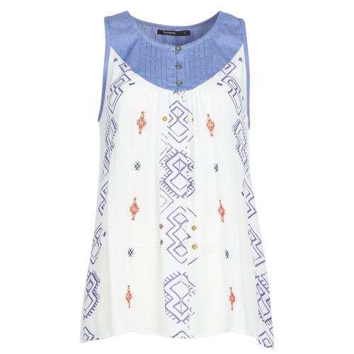 Abbigliamento Donna Top / T-shirt senza maniche Desigual MEKANE Bianco / Blu