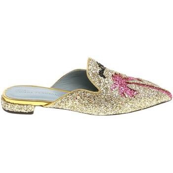 Scarpe Donna Zoccoli Chiara Ferragni Ciabatte chiuse  in brillantini oro