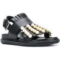 Scarpe Donna Sandali Marni Sandali bassi  in pelle con frange e perle nero