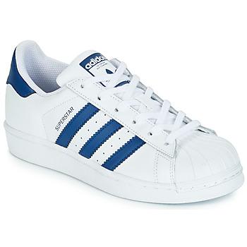 Scarpe Unisex bambino Sneakers basse adidas Originals SUPERSTAR J Bianco / Blu
