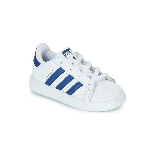 Scarpe Unisex bambino Sneakers basse adidas Originals SUPERSTAR EL Bianco / Blu
