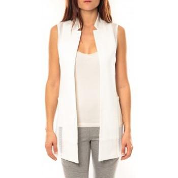Abbigliamento Donna Gilet / Cardigan Vera & Lucy Gilet Lucce LC-7012 Blanc Bianco
