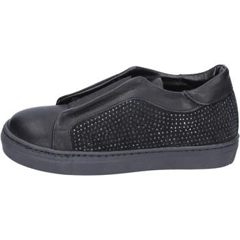 Scarpe Bambina Slip on Holalà sneakers nero pelle camoscio BT374 Nero