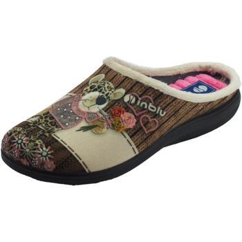 Scarpe Donna Pantofole Inblu Pantofole  donna in tessuto fantasia sabbia con leopardino Sabbia