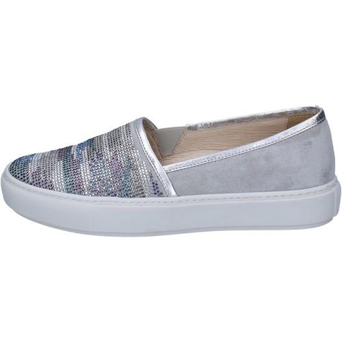 Scarpe Donna Slip on Janet Sport slip on grigio camoscio argento strass BT420 Grigio
