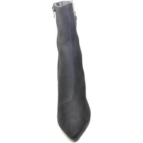 Scarpe Donna Tronchetti Malu Shoes Tronchetto donna in camoscio nero a punta tacco largo con zip d NERO