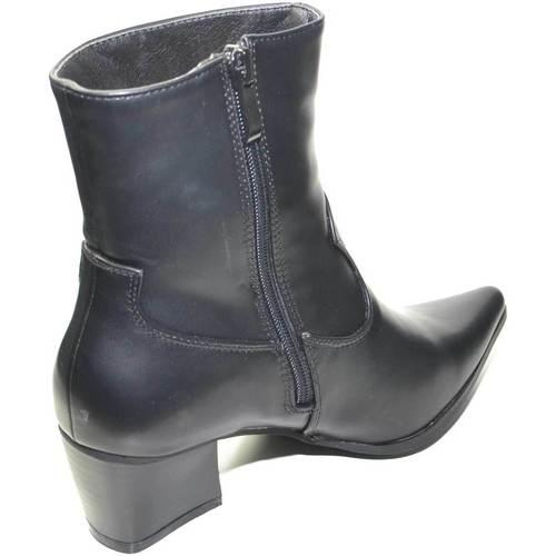 Scarpe Donna Tronchetti Malu Shoes Tronchetto donna nero linea basic con punta camperos tacco larg NERO