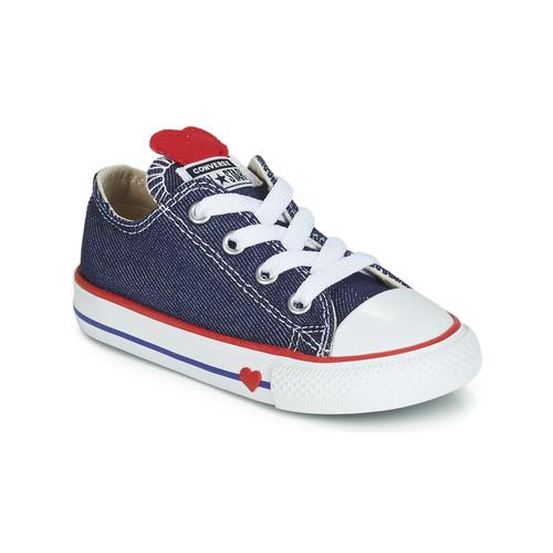 Scarpe Bambina Sneakers basse Converse CHUCK TAYLOR ALL STAR SUCKER FOR LOVE DENIM OX Blu