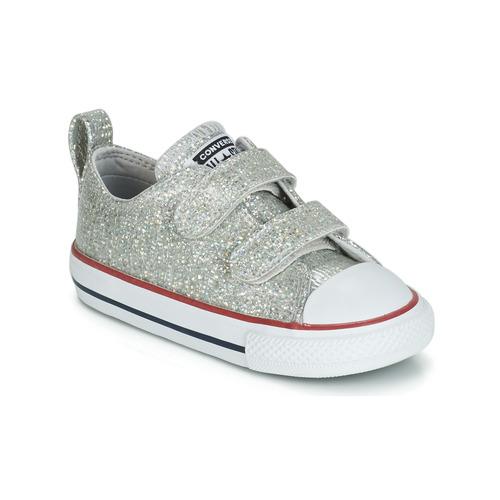 Scarpe Bambina Sneakers basse Converse CHUCK TAYLOR ALL STAR 2V SPARKLE SYNTHETIC OX Grigio