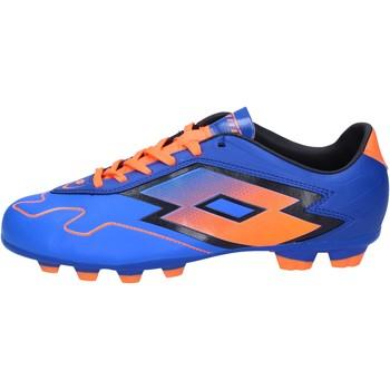 Scarpe Uomo Calcio Lotto sneakers da calcio blu pelle arancione BT586 blu