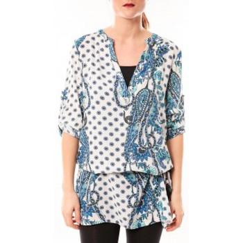 Abbigliamento Donna Abiti corti De Fil En Aiguille Tunique Love Look 1102 Bleu/Blanc Blu