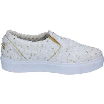 Scarpe Donna Slip on 2 Stars slip on bianco tessuto oro BZ525 Bianco