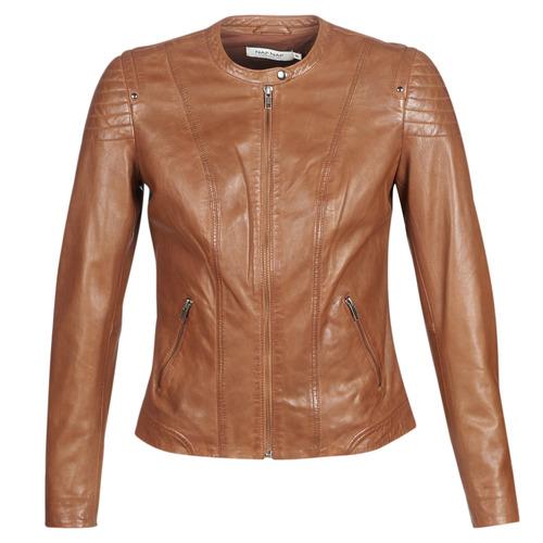Naf Naf CLIM Cognac - Abbigliamento Giacca in cuoio   simil cuoio donna 149,93
