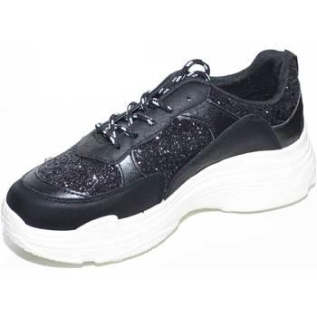 Scarpe Donna Sneakers basse Malu Shoes SNEAKERS BASSA DA DONNA NERA CON FONDO DOPPIO GOMMA BIANCO TESS NERO