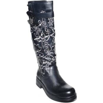 Scarpe Donna Stivali Malu Shoes STIVALE ALTO IN ECOPELLE NERO CON GAMBALE  ALTO E RICAMI FLOREA b4af091ba21