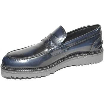 Scarpe Uomo Mocassini Malu Shoes Scarpe uomo mocassino BLU inglese con bendina made in italy fon BLU