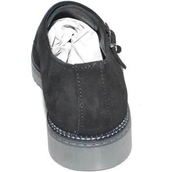 Scarpe Uomo Derby Malu Shoes Scarpe uomo doppia fibbia eleganti in vero camoscio nero fondo NERO