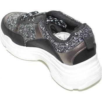 Scarpe Donna Sneakers basse Malu Shoes SNEAKERS BASSA DA DONNA NERA ANTRACITE CON FONDO DOPPIO GOMMA B NERO