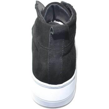 Scarpe Uomo Sneakers alte Malu Shoes SNEAKERS UOMO ALTA A STIVALETTO IN VERA PELLE CAMOSCIO NERO CON NERO