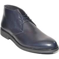 Scarpe Uomo Stivaletti Malu Shoes Polacchino uomo invernale in vera pelle vitello blu comfort bas BLU