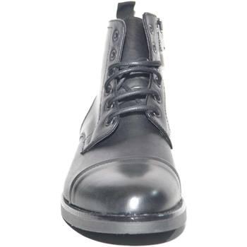 Scarpe Uomo Stivaletti Malu Shoes Anfibio vintage in vera pelle nero spazzolato fondo gomma lacci NERO