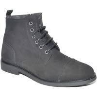 Scarpe Uomo Stivaletti Malu Shoes Anfibio vintage in vera pelle camoscio nero spazzolato fondo go NERO