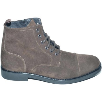 Scarpe Uomo Stivaletti Malu Shoes Anfibio vintage in vera pelle camoscio marrone spazzolato fondo MARRONE