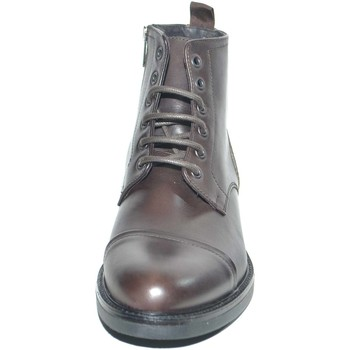 Scarpe Uomo Stivaletti Malu Shoes Anfibio vintage in vera pelle testa di moro spazzolato fondo go MARRONE
