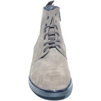 Scarpe Uomo Stivaletti Malu Shoes Anfibio vintage in vera pelle camoscio tortora spazzolato fondo BEIGE
