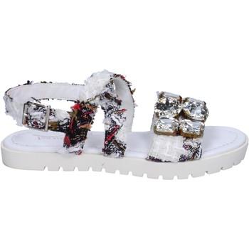 Scarpe Donna Sandali Ioannis sandali bianco tessuto strass BT873 Bianco