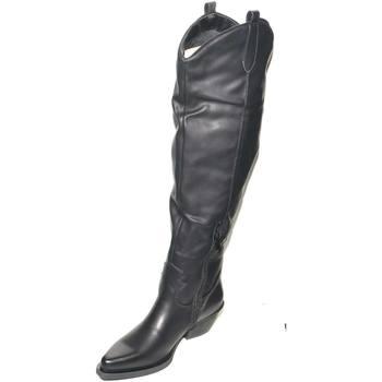Scarpe Donna Stivali Malu Shoes Camperos alti da donna nero fino al ginocchio a punta stile tex NERO