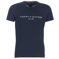 Abbigliamento Uomo T-shirt maniche corte Tommy Hilfiger TOMMY FLAG HILFIGER TEE Marine
